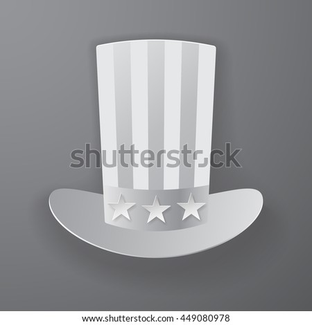 Uncle Sam Hat American hat icon with soft shadow style - stock vector