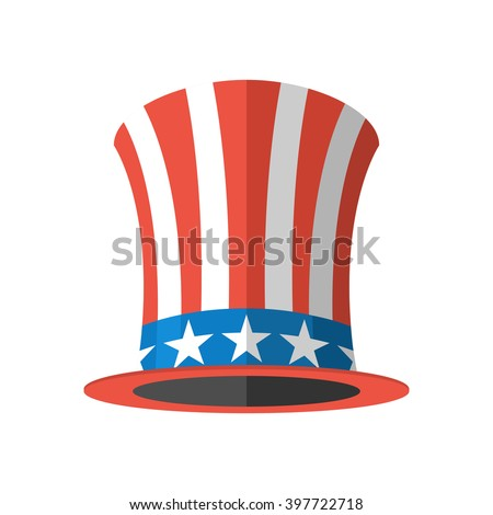 Uncle Sam hat on white background. Cylinder Uncle Sam USA. American hat. hat for independence day. Uncle Sam hat isolated. National Patriotic hat in America - stock vector