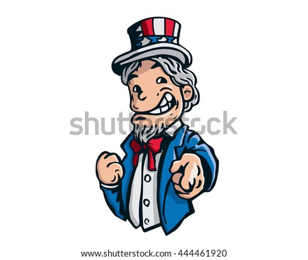 Uncle Sam Patriotic American Caricature - We Want You Independence Day Pose - stock vector