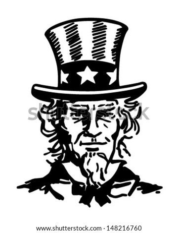Uncle Sam 2 - Retro Clip Art Illustration - stock vector