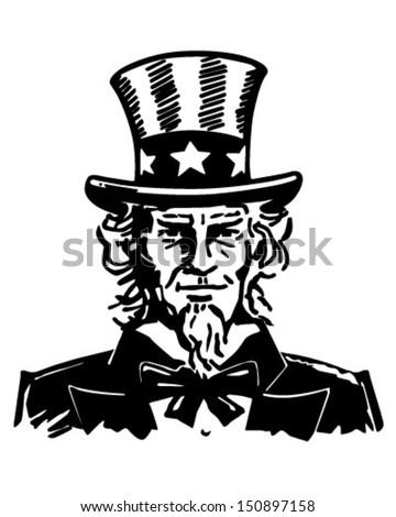 Uncle Sam 3 - Retro Clip Art Illustration - stock vector