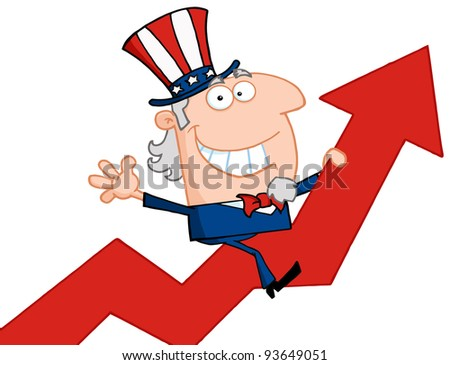 Uncle Sam Riding Up On A Statistics Arrow - stock vector