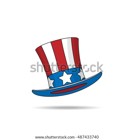 Uncle Sam's hat on white background. Vector