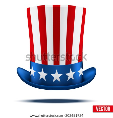 Uncle Sam's hat. Symbol of freedom and liberty. Vector Illustration Isolated on white background. - stock vector