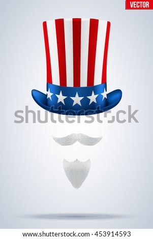 Uncle Sam's Symbol. Hat with beard and mustache. Concept of American Freedom and liberty. Vector Illustration Isolated on white background.