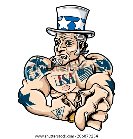 uncle sam tatoo colors - stock vector
