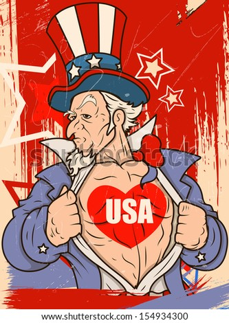 Uncle Sam - USA Love - Vector Portrait - stock vector