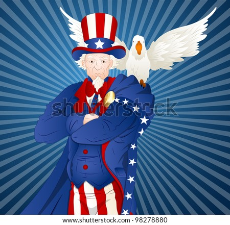 Uncle Sam with Bird - stock vector