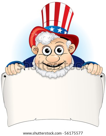 Uncle Sam with paper sign - stock vector