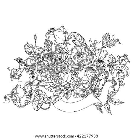 Uncolored coloring book style, roses in zen art style, could be used for Adult coloring book. Hand-drawn, doodle, vector the best for your design, wedding cards, coloring book. Black and white. - stock vector