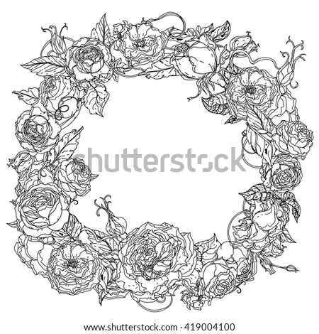Uncolored colouring book style  roses frame in zenart style, could be used for Adult colouring book. Hand-drawn, doodle, vector the best for your design, wedding cards, coloring book. Black and white. - stock vector