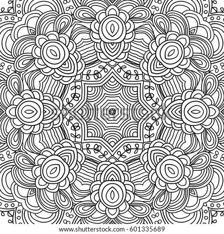 uncolored symmetric tracery for colouring can be used as adult coloring book coloring page - Sacred Geometry Coloring Book