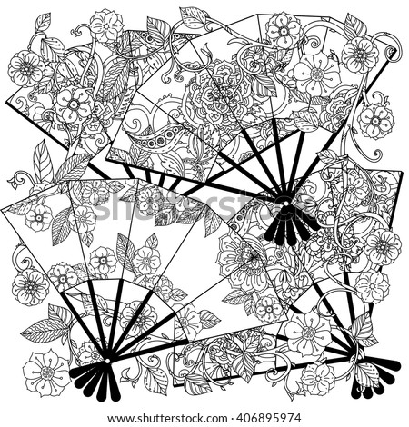 Uncoloured Oriental fans decorated with floral patterns for adult  coloring book.  Black and white. Uncolored Vector illustration. The best for your design, textiles, posters, adult coloring book - stock vector