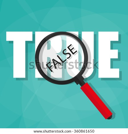 uncover the facts showing through magnifying glass - stock vector