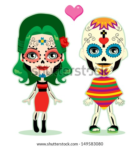 Undead couple in love celebrating the mexican dia de los muertos in traditional costume - stock vector