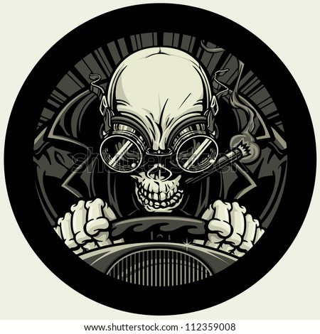 Undead Stock Car Racer. Vector illustration of a skeleton smoking a cigar while wearing a leather racing jacket and goggles. He grips the steering wheel tightly as he approaches the finish line. - stock vector