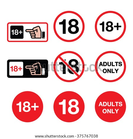 Under 18, adults only warning sign - stock vector