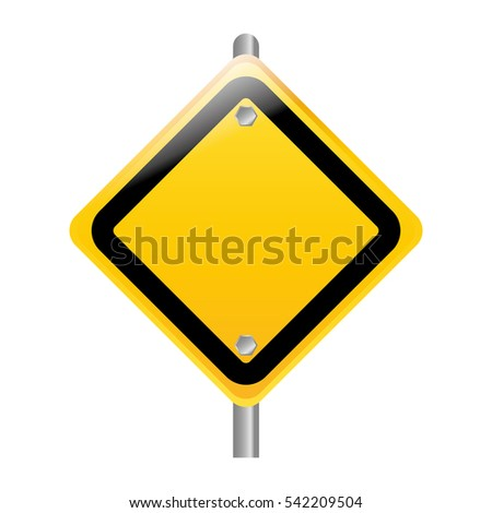 Blank Yellow Transportation Sign Placed On Stock Vector ...