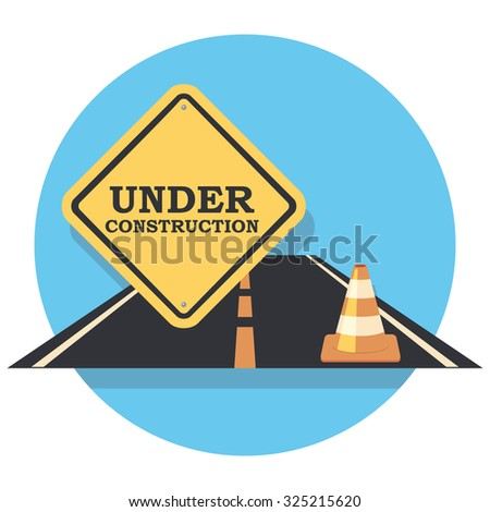 under construction and cone flat icon in circle - stock vector