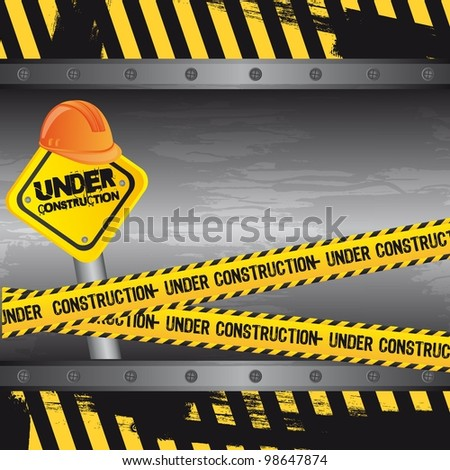 under construction background, road sign. vector - stock vector