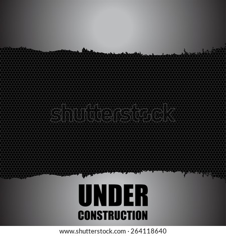 under construction background with chrome metal grid design, vector, eps10 - stock vector