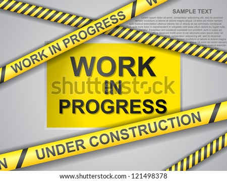 under construction background with yellow ribbons - stock vector