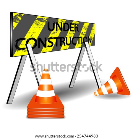 Under construction barrier and orange white cone vector
