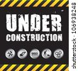 Under construction black and white background, Vector illustration - stock vector