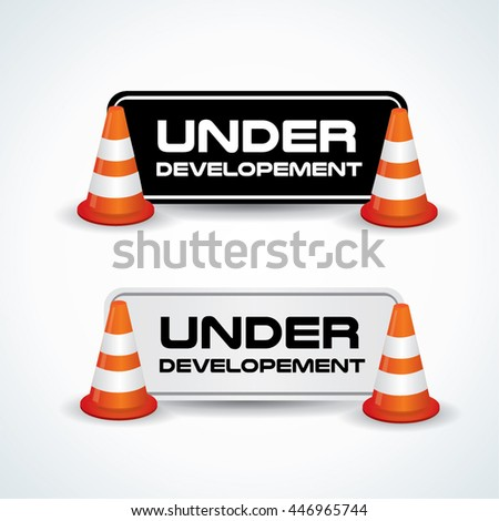 Under construction board with cones on both sides - stock vector