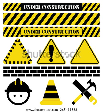 Under Construction-Collection of Construction imagery, including UNDER CONSTRUCTION text as well as common tools and symbols used in relation to construction - stock vector