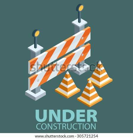 Under construction concept in flat isometric design style, vector illustration - stock vector