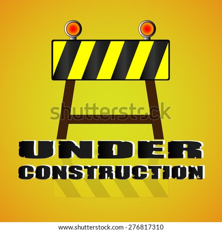 Under construction concept. under construction road sign, Barrier isolated on orange background