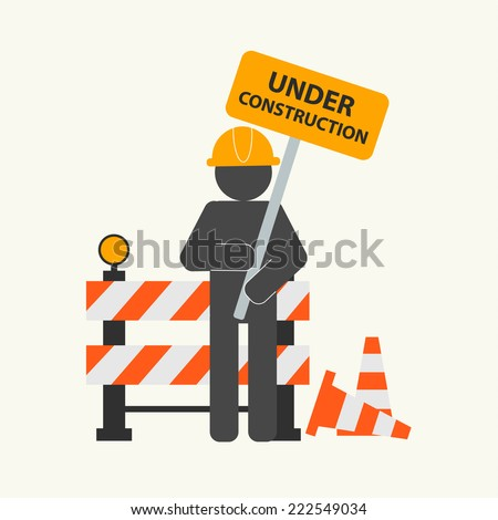 Under construction concept, vector illustration. Construction icons, site, worker  - stock vector