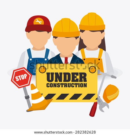 Under construction design over white background, vector illustration. - stock vector