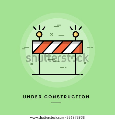 Under construction, flat design thin line banner, usage for e-mail newsletters, web banners, headers, blog posts, print and more - stock vector