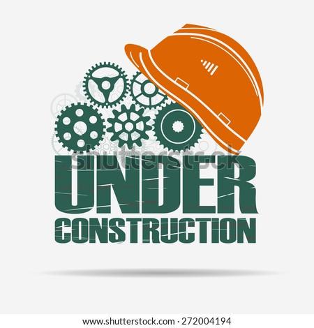 Under construction, gears and helmet, website, page design. Vector - stock vector