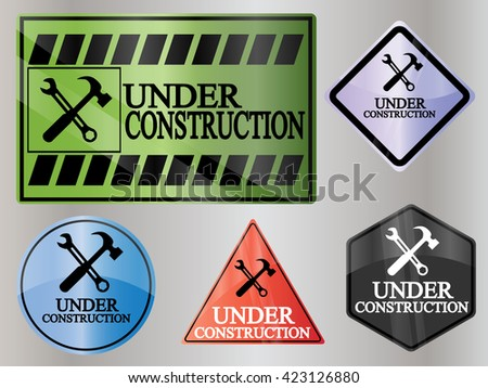 Under construction icon sign - stock vector
