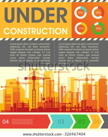 Under construction illustration for websites. City skyline construction background with step banners and infographics elements - stock vector