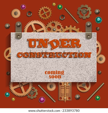 Under construction in coming soon in style steampunk with gears and crystals. Vector illustration. - stock vector