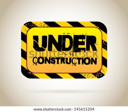 under construction label over beige background vector illustration - stock vector
