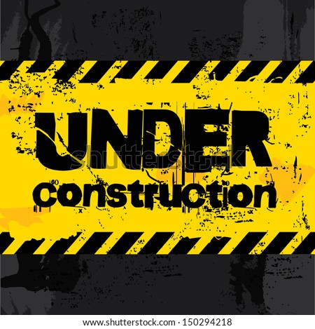 under construction label over black background vector illustration   - stock vector