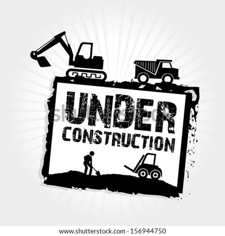 under construction label over gray background vector illustration - stock vector