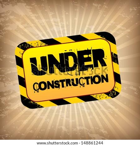 under construction label over grunge background vector illustration  - stock vector