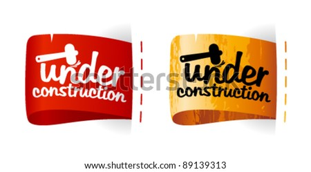 Under construction labels set. - stock vector