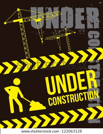 under construction over black background. vector illustration - stock vector
