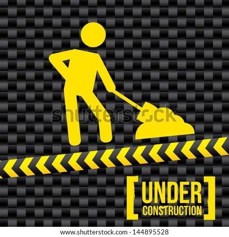 under construction over black background. vector illustration - stock vector