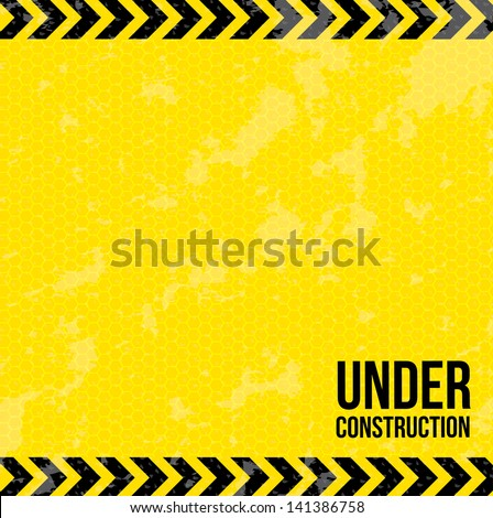 under construction over yellow background vector illustration - stock vector
