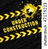 Under construction page with traffic sign. Vector background. - stock vector