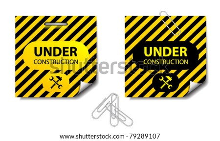Under construction papers with curved corners-vector - stock vector