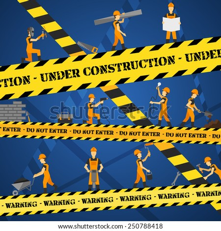 Under construction poster with workmen and yellow restriction line vector illustration - stock vector